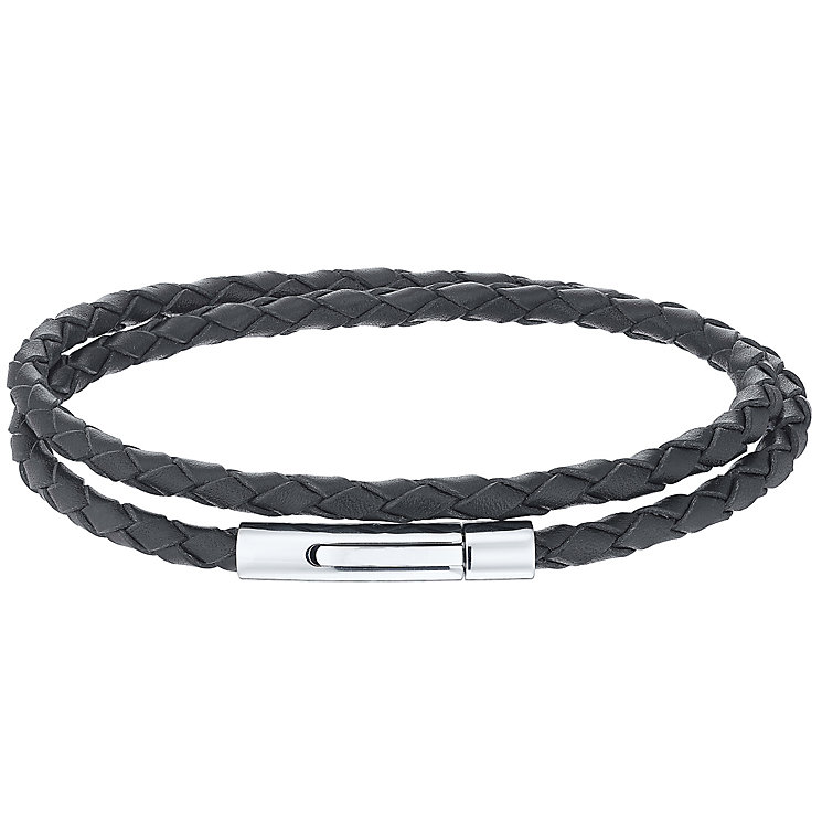 Men's Black Leather Stainless Steel 2 Row Bracelet - Product number 5061954