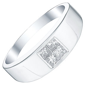 Men's 9ct White Gold 0.45ct Diamond Signet Ring - Product number 5062055