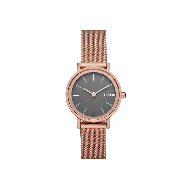 Skagen Grey Dial Rose Gold-Plated Mesh Bracelet Watch - Product number 5062535
