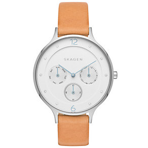 Skagen White Multi Dial Brown Leather Strap Watch - Product number 5062551
