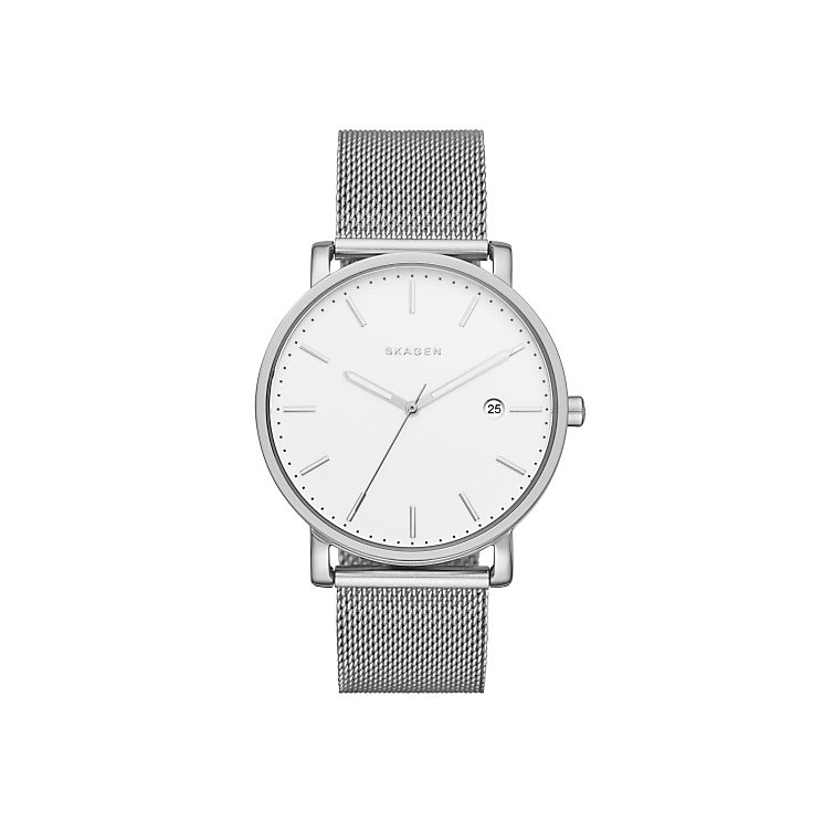 Skagen White Dial Stainless Steel Mesh Bracelet Watch - Product number 5062586
