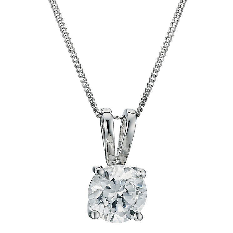 18ct White Gold 0.75ct H/I P1 Diamond Pendant - Product number 5062640