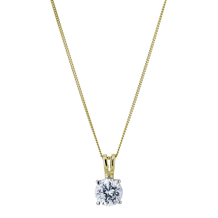 18ct yellow gold 1ct solitaire pendant - Product number 5062985