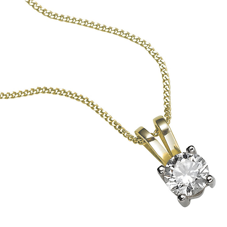 18ct yellow gold 0.33ct G/H SI1 Diamond pendant necklace - Product number 5063329