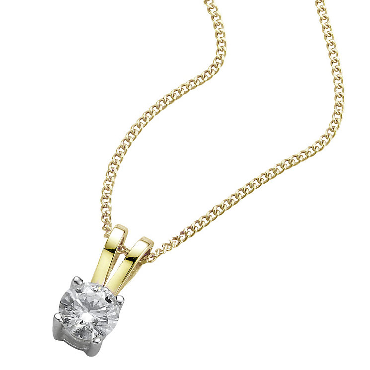 18ct yellow gold 0.25ct H/I SI2 Diamond pendant - Product number 5063418