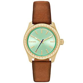 Diesel Ladies Kray Kray Green Dial Brown Leather Strap Watch - Product number 5065240
