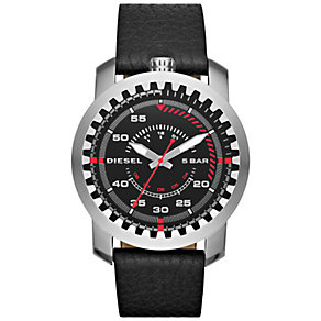 Diesel Mens Rig Black Dial & Leather Strap Watch - Product number 5065259