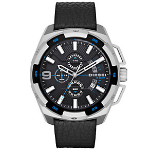 Diesel Mens Heavyweight Black Dial Black Leather Strap Watch - Product number 5065283