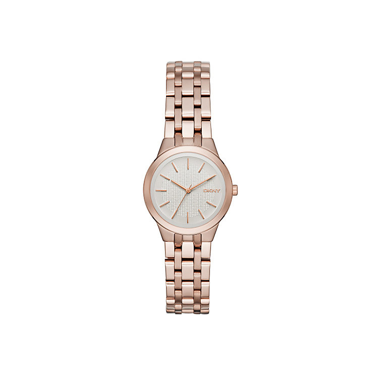DKNY Ladies' Silver Dial Rose Gold-Plated Bracelet Watch - Product number 5065569