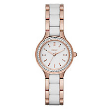 DKNY Ladies' White Ceramic & Rose Gold-Plated Bracelet Watch - Product number 5065585