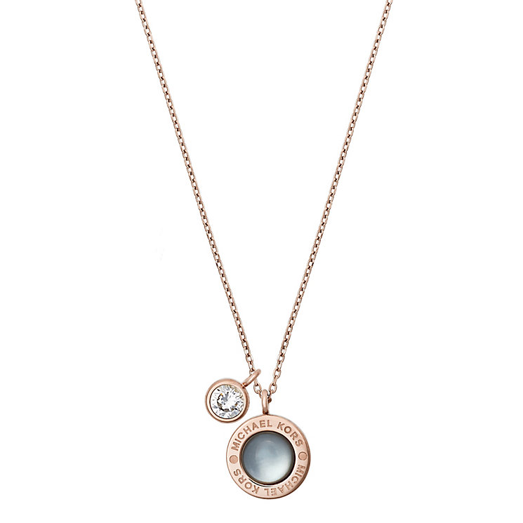 Michael Kors Rose Gold Tone Logo Stone Set Necklace - Product number 5073065