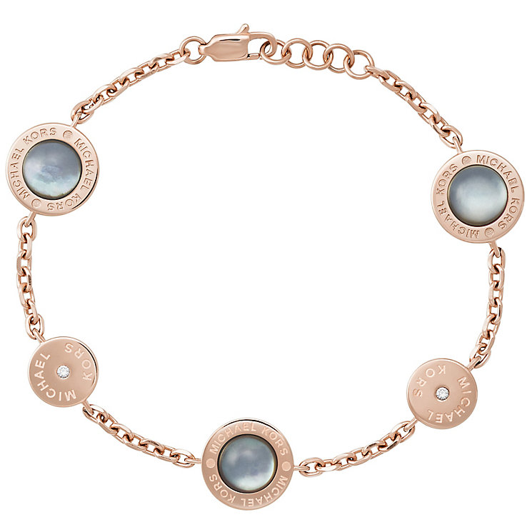 Michael Kors Rose Gold Tone Logo Stone Set Bracelet - Product number 5073170