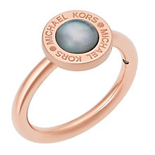 Michael Kors Rose Gold Tone Logo Stone Set Ring - Product number 5073251