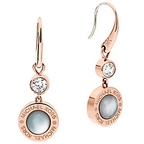 Michael Kors Rose Gold Tone Logo Stone Set Drop Earrings - Product number 5074150