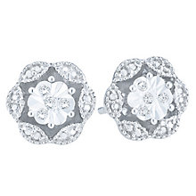 Sterling Silver Diamond Flower Stud Earrings - Product number 5074207