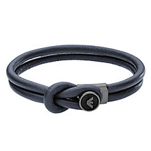 Emporio Armani Men's Sterling Silver Leather Bracelet - Product number 5074789