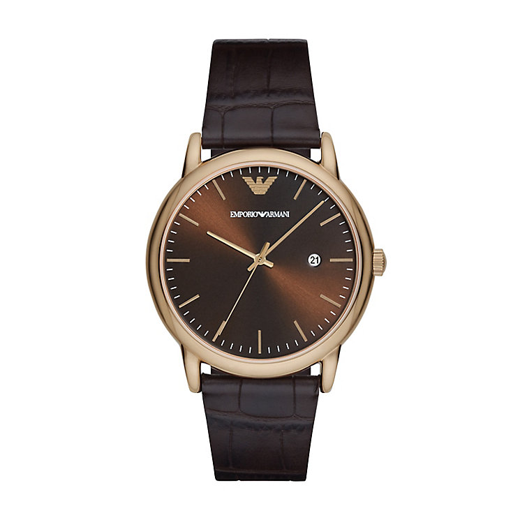 Emporio Armani Men's Rose Gold Plated Strap Watch - Product number 5085446