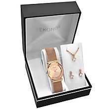 Sekonda Rose Gold-Plated Bracelet Watch, Pendant & Earrings - Product number 5086167