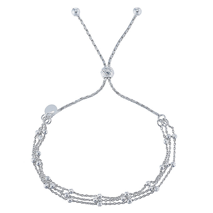 Silver Three Row Beaded Chain Friendship Bracelet - Product number 5088291