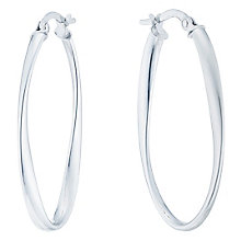 9ct White Gold Twist Creole Earrings - Product number 5088577