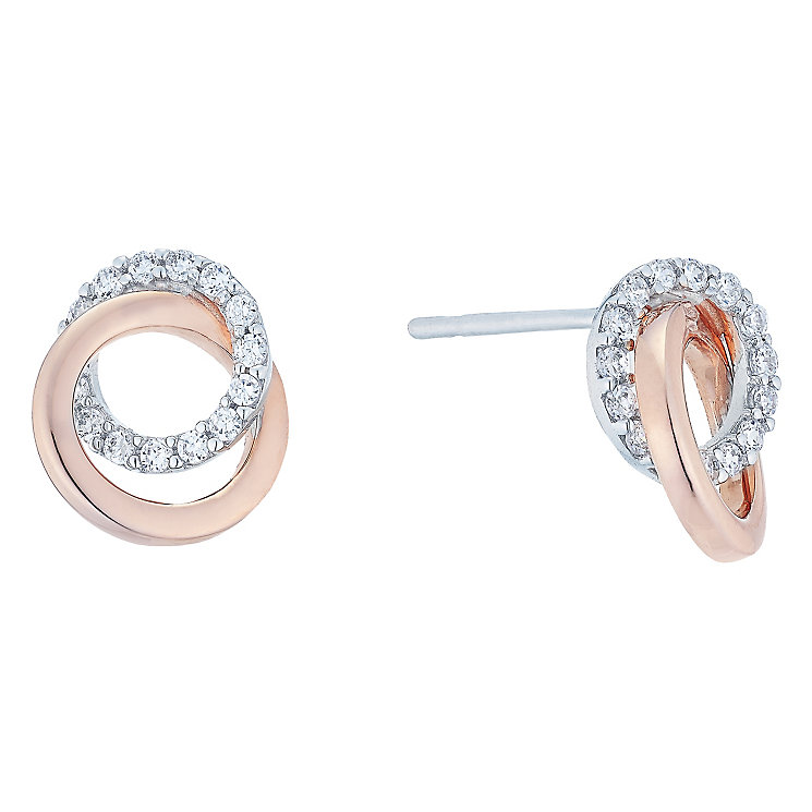 9ct White & Rose Gold Cubic Zirconia Stud Earrings - Product number 5088607
