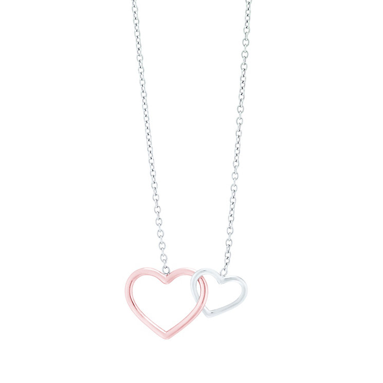 9ct White Gold Interlink Hearts Necklace - Product number 5088631