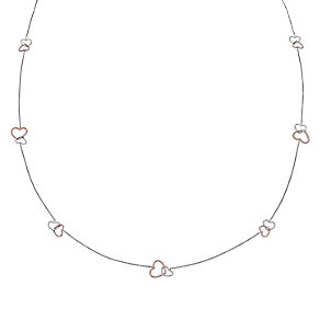 9ct White & Rose Gold Long Interlink Heart Necklace - Product number 5088658
