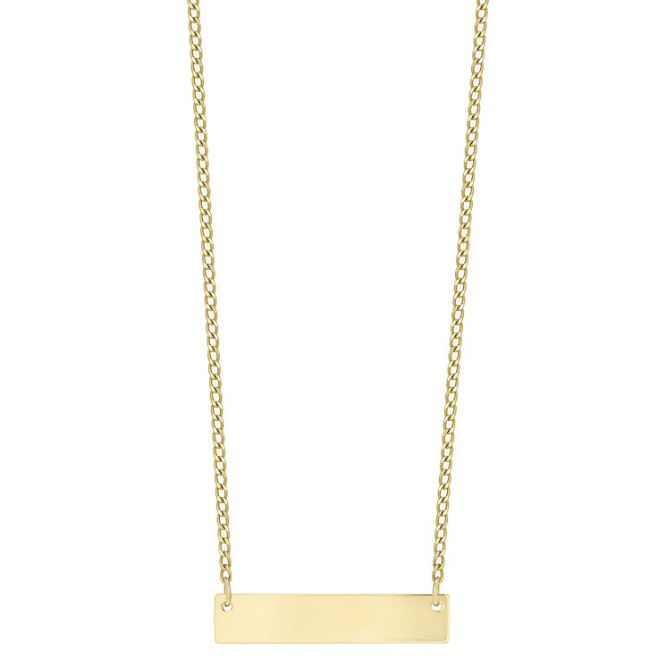 9ct Yellow Gold Engravable Bar Necklet - Product number 5088704