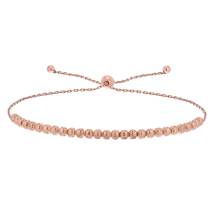9ct Rose Gold Sparkle Bead Bolo Bracelet - Product number 5088755