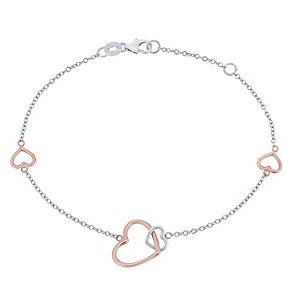 9ct White Rose Gold Interlink Heart Bracelet - Product number 5088763