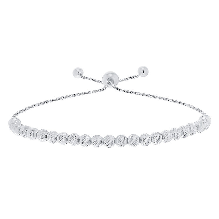 9ct White Gold Large Bead Bolo Bracelet - Product number 5088801