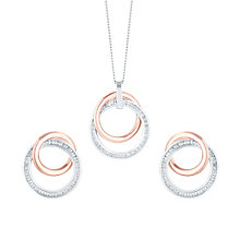 Sterling Silver & 9ct Rose Gold Cubic Zircona Jewellery Set - Product number 5089964