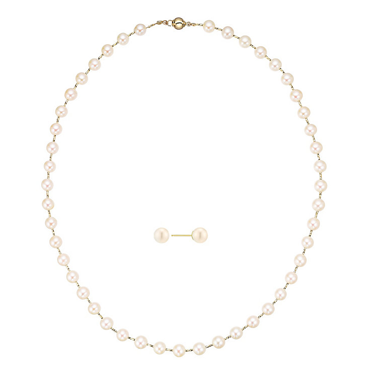 18ct Yellow Gold Pearl Jewellery Set - Product number 5090016