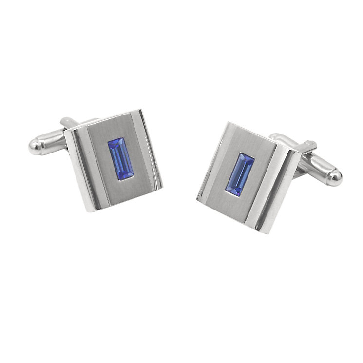 Brushed & Polished Sapphire Coloured Crystal Cufflinks - Product number 5090121