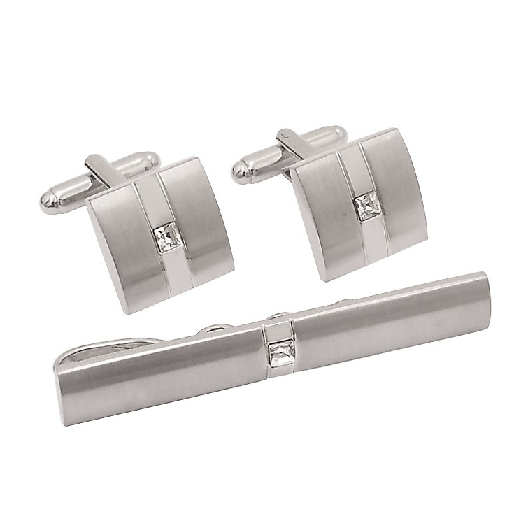 Brushed & Polished Stainless Steel Cufflinks & Tie Pin - Product number 5090164