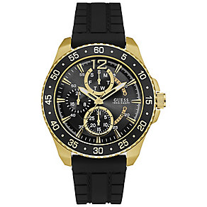Guess Men's Gold-Plated Black Silicone Strap Watch - Product number 5093775