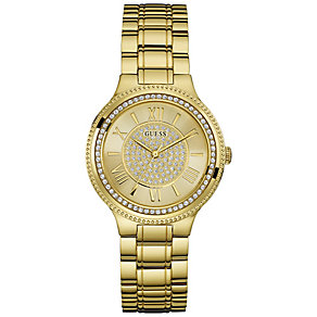 Guess Ladies' Stone Set Gold-Plated Bracelet Watch - Product number 5093848