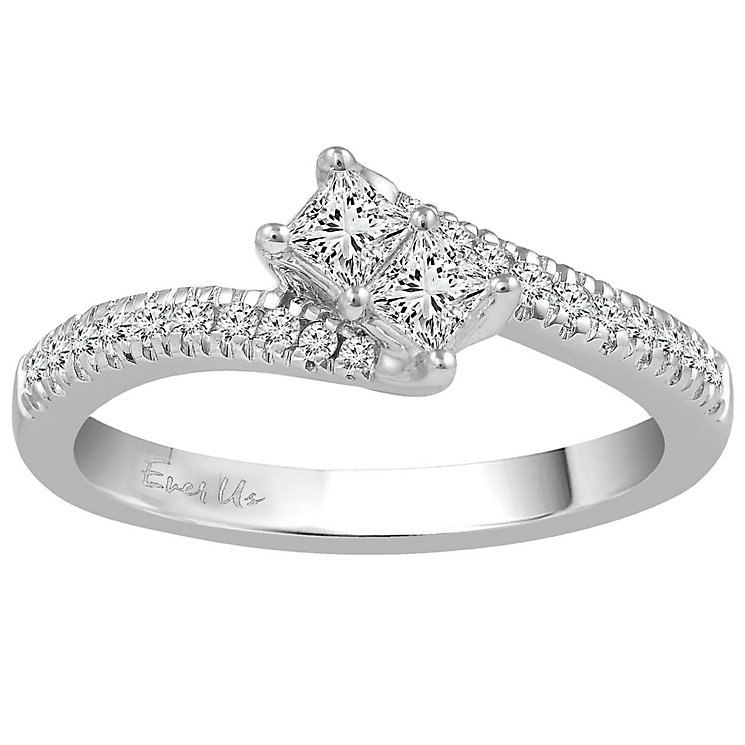 Ever Us 14ct White Gold 1/2 Carat Diamond 2 Stone Ring - Product number 5099854