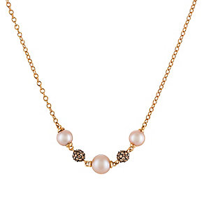 Le Vian 14ct Strawberry Gold Diamond & Pearl Necklace - Product number 5102251