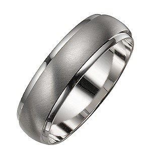 Mens 9ct White Gold Satin And Polished Ring