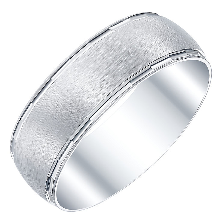 Men's 9ct White Gold  Matte 7MM Band - Product number 5108055