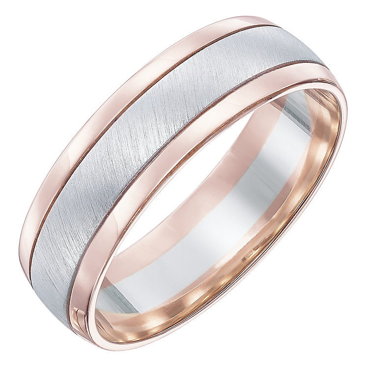9ct White & Rose gold 6MM Band - Product number 5108209