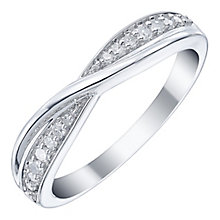 18ct White Gold 15pt Diamond Crossover Band - Product number 5108470