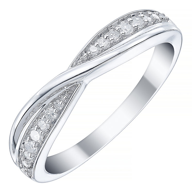 Platinum 15pt Diamond Crossover Band - Product number 5109205