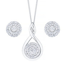 9ct White Gold 0.17ct Diamond Pendant & Stud Earrings Set - Product number 5109515