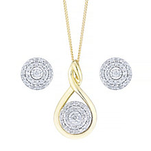 9ct Gold 0.17 Carat Diamond Pendant & Stud Earrings Set - Product number 5109523