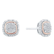 Silver and 9ct Rose Gold 0.17ct Diamond Earrings - Product number 5109612