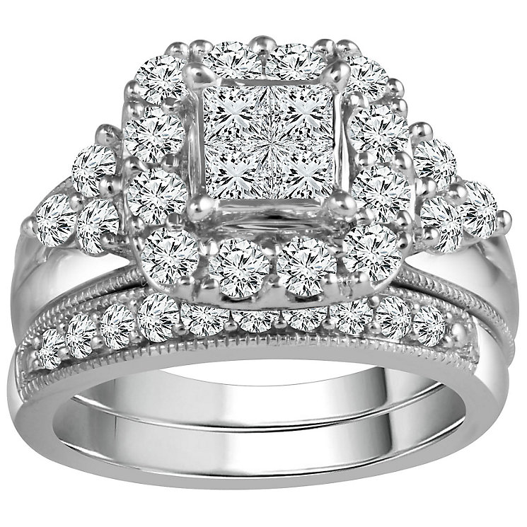 9ct White Gold 1  1/2 Carat Diamond Perfect Fit Bridal Set - Product number 5111102