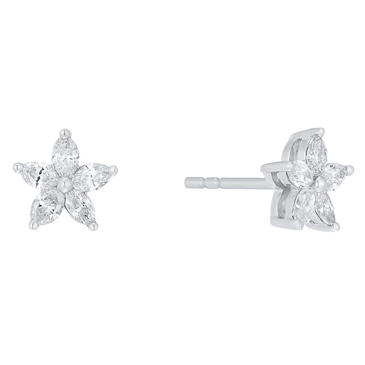 18ct White Gold 0.50ct I1 Certificated Diamond Earrings - Product number 5117402