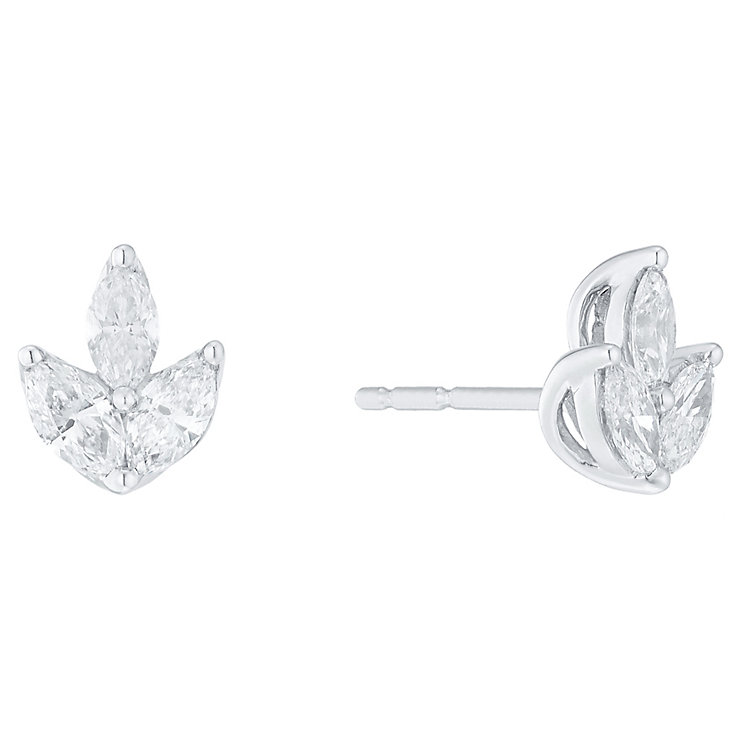 18ct White Gold 0.50ct I1 Certificated Diamond Earrings - Product number 5117429